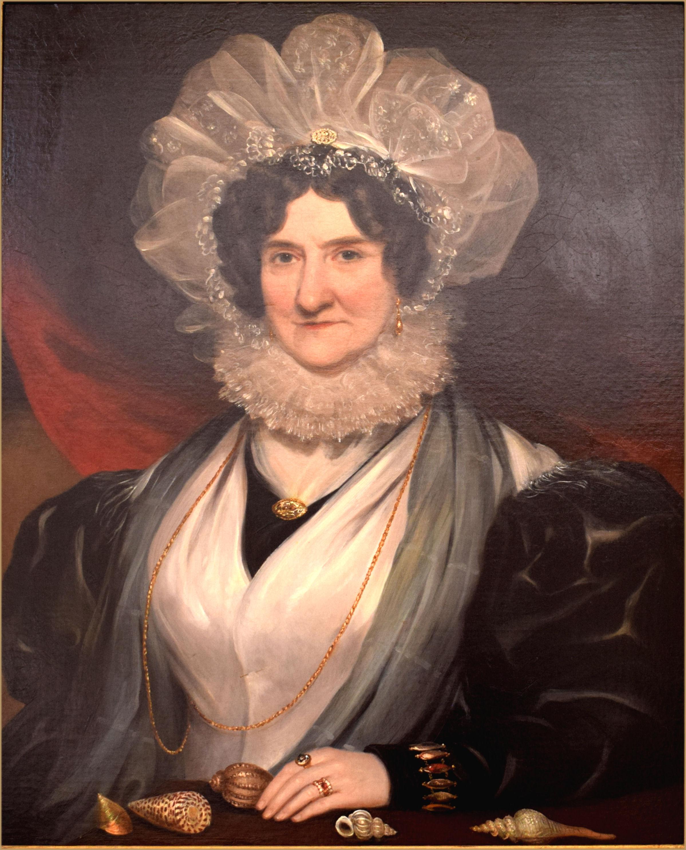 Portrait Of A Victorian Conchologist Wearing Lace Mop Cap